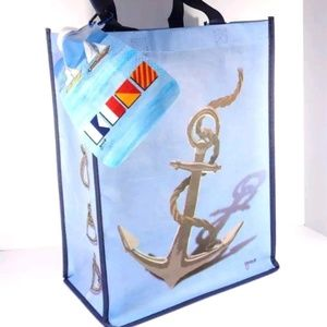 NAUTICAL ANCHOR SAILING BEACH TOTE WITH BOTTLE